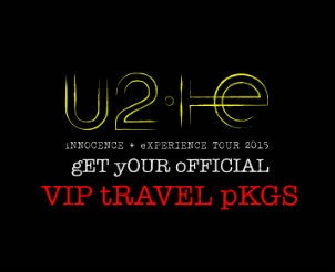 Two 2015 U2 Tour VIP Tickets Travel and Hotel Package