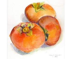 Autumn Persimmons Print By Margrit Mondavi