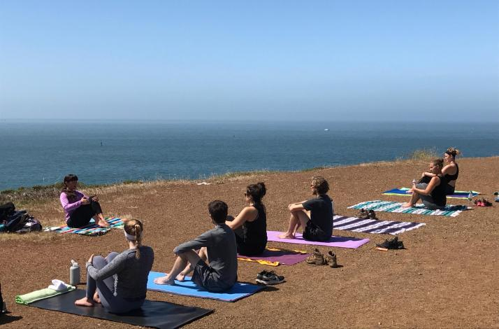 Yoga Overlooking the Pacific Ocean in Marin County: In SF, California