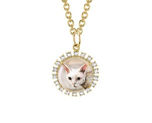 Custom 18k Yellow Gold Crystal Quartz and Rose Cut Diamond Pet Pendant on 18 Inch Chain, plus Lunch with the Designer from Irene Neuwirth